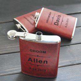 Flacon personnalisé en cuir pour cadeau de mariage Best Men à partir de gravent flacon fournisseurs