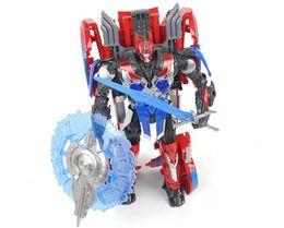 Película de acción en Línea-Figuras de acción Optimus Prime Toy Nuevos bebés Juguetes deformación Robot Niños Regalos Movie 4 Anime Figuras Leader Level Model Toy