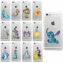 Wholesale Watercolor Tinkerbell Mickey Minne Mermaid Princess Lion King Poof Bear Monsters University TPU Case TPU Case for iphone S Plus s c