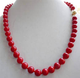 14K SOLID Gold CLASP 10mm Red Sea Coral Gems Round Bead Necklace 18""