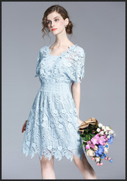 2017 New Spring Summer Women Ladies Lace Dress V neck Short sleeves Elegant blue embroidery Prince dresses Water soluble