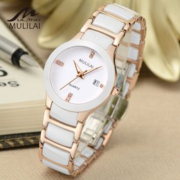 Luxury brand mulilai lady white   black   gold ceramic watch high quality quartz watch ladies fashion exquisite ladies watch