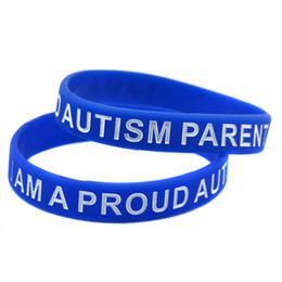 100PCS Lot I am A Proud of Austism Parent Silicone Wristband Great For Daily Reminder By Wearing This Colourful Bracelet