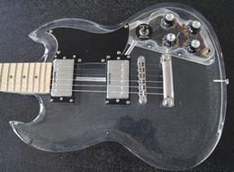 Cuerpo sg en Línea-Cuerpo cristalino al por mayor con la luz del LED, guitarra de acrílico del SG 22F, venta al por mayor - envío libre Venda al por mayor la nueva guitarra eléctrica del cuerpo de acrílico con