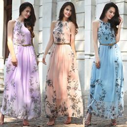 Chiffon Sleeveless Flora Printed Pinafore Long Boho Dress Bohemian Tunic Belt Beach Dresses Sundress