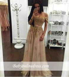 Sparkly Gold Prom Dresses Long 2017 New Design Sweetheart Off the shoulder Beading Crystal Evening Gown Lace Party Dress