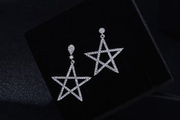 Touching stud earrings simple female zircon five - pointed earrings exaggerated Japan and South Korea anti - allergy earrings