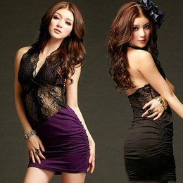 2017 new women's summer nightclubs fashion sexy hollow lace hanging neck-style open-ocean skirt ultra-short package hip dress