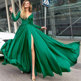 Green Long Sleeves Prom Dresses Deep V-Neck Side-Split Chiffon Floor Length Evening Gowns Custom Made Formal Party Dress Evening Wear