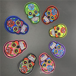 Wholesale 50pcs Multi Color Skull Embroidery Patch Appliques Iron On Patch For Cloth Bags Hat Sewing Notions Garment Accessory