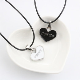 Fashion Necklace Valentine's day Gift 2pc Set Heart Pendant I Love You Forever Letters Pendant Necklaces For Lovers