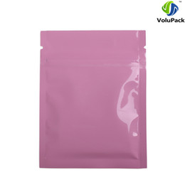 Logotipo bolsa de plástico paquete en venta-Custom Logo 7.5x10cm (3x4in) Tear Notch Aluminio Foil Plástico Plana Ziplock Paquete Bolsas Brillante Rosa Zip Lock Bolsa gruesa