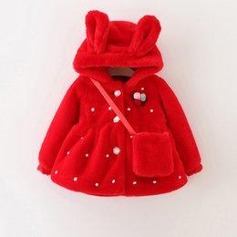 Wholesale Baby Kids Clothing Outwear girls coat winter Faux Fur Hooded long sleeve Red coats jacket Children s jackets windbreaker