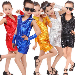 Golded Sequined kids Adults Modern Jazz Tops+pants dancing Hoodie Costumes Sequined Girls Boys Ballroom Hip Hop Dancewear Outfits