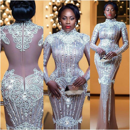 Wholesale Nana Akua Addo Glitz Style Awards Crysatal Celebrity Dresses Evening Dresses Long Sleeve High Collar Celebrity Party Dresses Red Carpet