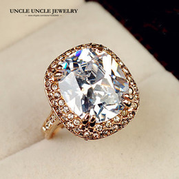 Ultra-big Rose Gold Color Royal Oval Top Class Cubic Zircon Wedding Luxury Finger Ring Wholesale