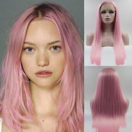 Direct Factory Price Cosplay Pink Straight Synthetic Lace Front Wigs For Women High Temperature Long Hairstyles Natural Afro Wigs