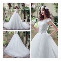 2018 Lace Jewel A Line Wedding Dresses Long Women Handmade Beads Sashes Bridal Lady Party Red Carpet Catwalk Fashion Bride Gowns