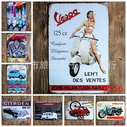 Wholesale Antique Tin Poster Car Motorcycle Metal Tin Signs Personality Ornaments Iron Paintings Citroen DS Crafts cm rji