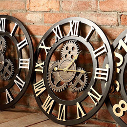 Wholesale Round Wall Clock Large Gear Designs Antique Murals Decoration for Living Room Bedroom Bar Hanging Wall Clocks Silence Movemont