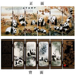Lacquer screen six panda fan Home Furnishing decoration holiday business abroad to send foreigners gifts treasures of China Map