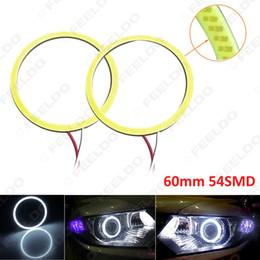 FEELDO White Auto Car 60mm 54SMD LED Headlight COB 54LED Halo Ring Angel Eyes Warning Lamps #5279