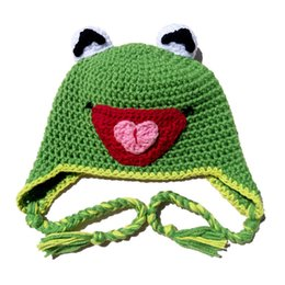 Kermit the Frog Hat,Handmade Knit Crochet Baby Boy Girl Animal Earflap Hat,Children Cartoon Winter Hat,Toddler Photo Prop
