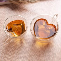 Wholesale 180ml ml Romantic Heart Shaped Double Wall Clear Transparent Glass Tea Cup Coffee Milk Water Mug For Home Office Best Gift ZA1654