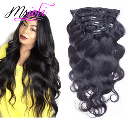 Canada La vague du corps de Malaisie Human Human Hair 120G Clip In Extension Full Head Couleur naturelle 7pcs / lot 12-28 pouces de Ms Joli cheap 26 inch human hair clips Offre
