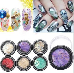 Compra Online Escama de lentejuelas-6 colores Nail Art Decor Bling Glitter Shell hoja de papel escamas finas de la rebanada de clavo de arte de lentejuelas Shell Fragmentos
