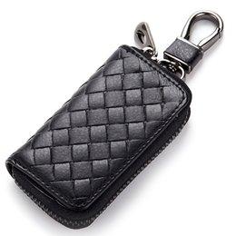 Wholesale Genuine leather key wallet automobile key bag new woven pattern remote key case male Ladies zipper keyholder colors
