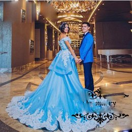 Luxury Blue A Line Arabic Wedding Dresses Cap Sleeves Lace Appliques Detachable Train Wedding Gowns 2017 Fall Winter New