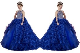 Wholesale Luxury Removable Two Pieces Little Girls Pageant Dresses Ruffled Crystal Beads Princess Royal Blue Dance Ball Gowns Kids Party For Wedding