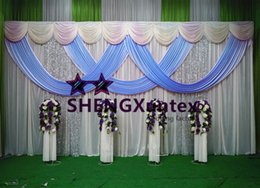 A Whole Set Ivory Wedding Backdrop Curtian With Sky Blue Swag And Pipe Stand \ Stent