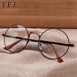 Promotion or gros cadres lunettes Vente en gros - TFJ Mode Femmes Lunettes Cadres Homme Marque Métal Vintage Lunettes rondes Bouclier doré Cadre avec lunettes Spectacles d'été