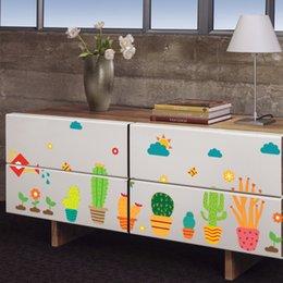 Descuento armarios niños Jardín Plantas en maceta 3d Wall Stickers Para Niños Habitaciones Nursery Room Ventana Armario Cocina Decoración Flor Niños Wall Decal Art