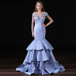 Lavender Satin Mermaid Prom Dresses Beaded Off Shoulders Sexy Back Sequins Evening Gowns New Arrival A009