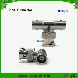Free shipping BNC Male to 2 BNC Female Socket 3 Way BNC connector for CCTV 50pcs Lot KA2C09