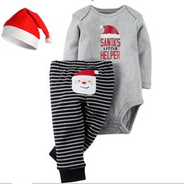 Wholesale 2016 Christmas Xmas Outfits baby Romper Christmas deer girls boys Santa Claus Romper Striped pants set Xmas bodysuit pant set best