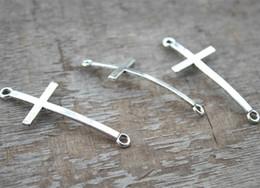 15pcs Antique silver tone Sideways Cross Charm Connector Pendant 22x52mm