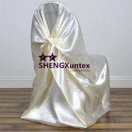 Ivory Color Chair Cover \ Satin Self Tie Chair Cover For Wedding