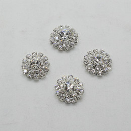 50pcs 18mm Round Flower Metal Rhinestone Button Wedding Hair Decor Embellishment Crafting DIY Accessory