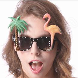 Gafas de sol wayfarers en Línea-Flamingo Wayfarer Gafas de sol Hawaiano Hula Gafas Novedad Palmera Gafas De Sol Máscara Gafas De Sol Partido Fuentes Decoración RRA37