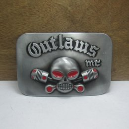 BuckleHome Fashion outlaws MC belt buckle with pewter finish FP-03669 suitable for 4cm wideth belt free shipping