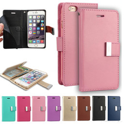 Wholesale For Iphone Case Mercury Rich Diary Wallet PU Leather Case TPU Cover with Card Slots Side Pocket For Iphone Plus Galaxy S7 LS775 OPP Bag