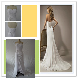Wholesale Cheap Blue Bras - Sexy bra exposed thigh front slit White Chiffon pleated catch draping gown trailing back strap spring 2016 Prom Dresses cheap shipping