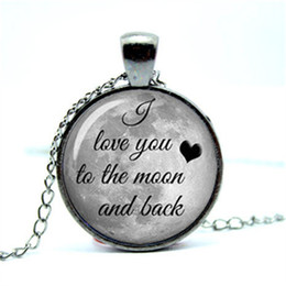 10pcs lot I love you to the moon and back, full moon pendant Glass Photo Cabochon Necklace