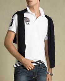 Франция человек для продажи-Горячие Продажа хлопка мужчин Одежда США Италия Франция Флаг печати Мужской Тонкий поло рубашки Человек футболки Повседневная рубашка Мужские топы Спортивные тройники