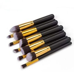 Wholesale makeup brushes tools set small rod mouth pipe and wooden handle facial brush cosmetic tool in stock