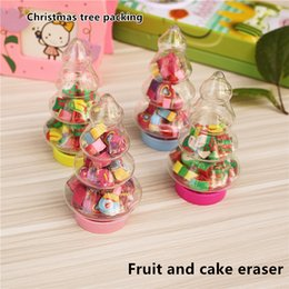Wholesale Christmas tree fruit cake eraser for student Holiday gifts The new shape value large capacity erasers